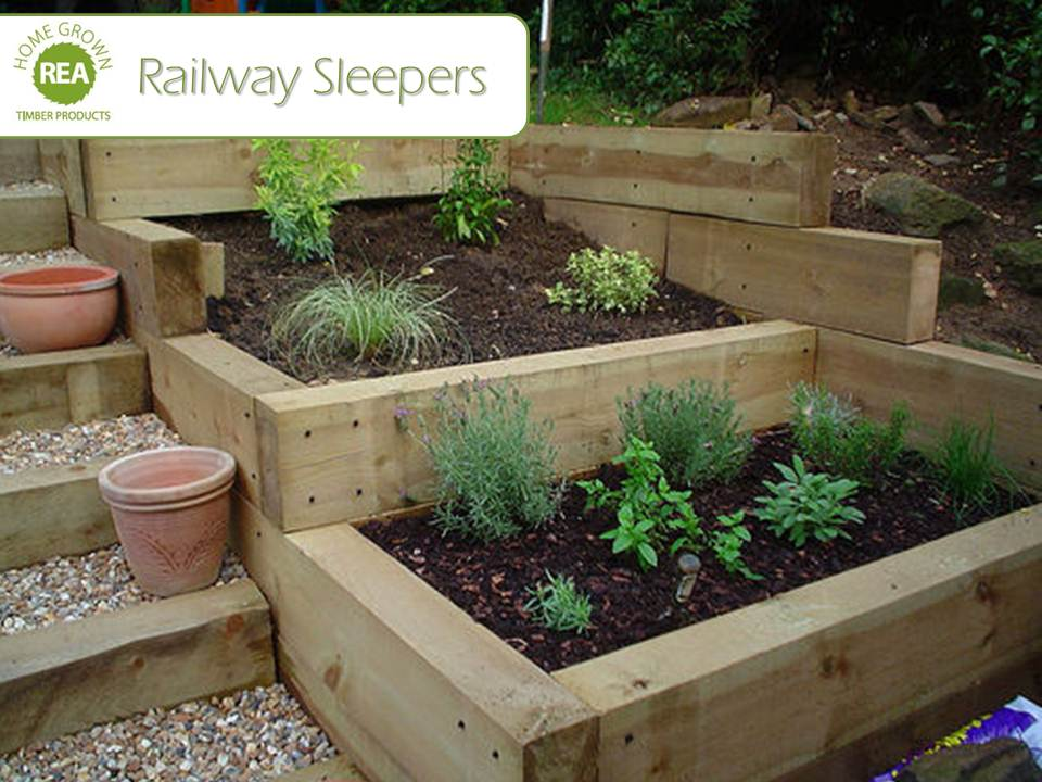Complete raised bed x x 200mm pressure treated for Garden design using railway sleepers